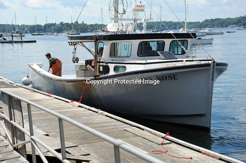 Lobster Fisherman in Boat at Dock in Maine, USA