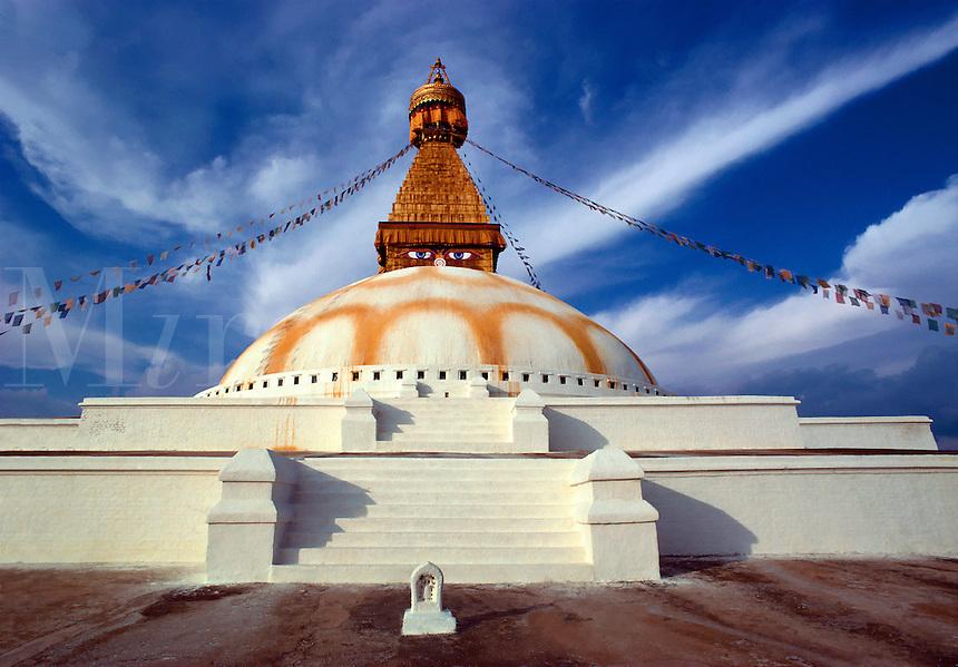 The ancient STUPA of SWAYAMBUNATH is sacred to both Hindu & Buddhist alike - KATHAMNDU, NEPAL
