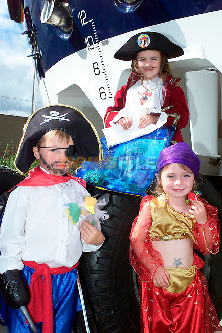 Hayleigh Malone, 1st, Saoralith Dawe, 2nd and Niall Monahan, 3rd in the fancy dress competition at the Clogherhead Lifeboat Open Day..Picture: Paul Mohan/Newsfile
