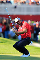 Ryan Moore (Team USA) on the 8th green during the Friday afternoon Fourball at the Ryder Cup, Hazeltine national Golf Club, Chaska, Minnesota, USA.  30/09/2016<br /> Picture: Golffile | Fran Caffrey<br /> <br /> <br /> All photo usage must carry mandatory copyright credit (&copy; Golffile | Fran Caffrey)