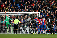 3rd November 2019; Selhurst Park, London, England; English Premier League Football, Crystal Palace versus Leicester City; Vicente Guaita of Crystal Palace saves Jonny Evans of Leicester City header - Strictly Editorial Use Only. No use with unauthorized audio, video, data, fixture lists, club/league logos or 'live' services. Online in-match use limited to 120 images, no video emulation. No use in betting, games or single club/league/player publications