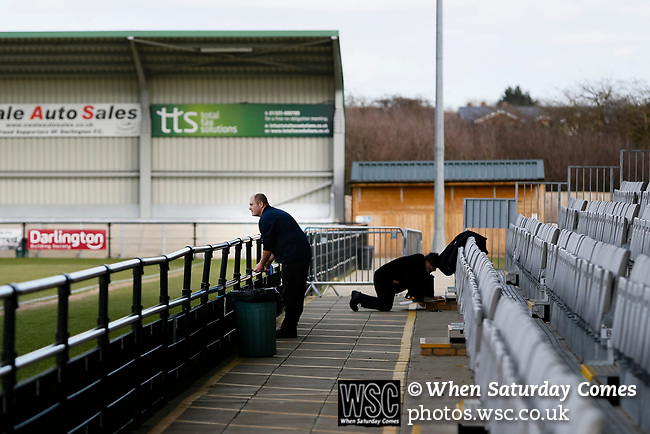 Removing the top barrier level to give wheelchair bound fans an unobstructed view. Darlington 1883 v Southport, National League North, 16th February 2019. The reborn Darlington 1883 share a ground with the town's Rugby Union club. <br />