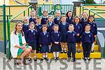 Mary V O'Leary with her junior infant class on their first day of school Gneeveguilla NS on Monday front row l-r: Clodagh O'Leary, Julianne Fenton, Robyn Gabbett, Jack O'Sullivan, Aoibhinn Gleeson. Middle row: Sophie Brosnan, Cadan McIlroy, Aine Hurley, Kayla McAulliffe, Vivien Dela Torre. Back row: Sadie Murphy, Emily Grace Moynihan, Pippa Murphy, Muireann McAulliffe, Victoria Fitzgerald and Ciara O'Mahony