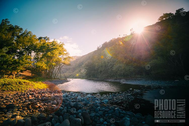 Pololu  stream and valley on the North Kohala coastline of the Big island
