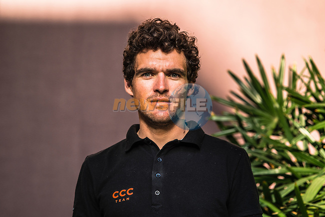 Greg Van Avermaet (BEL) CCC Team at the top riders press conference before the start of 10th Tour of Oman 2019, Muscat, Oman. 15th February 2019.<br /> Picture: ASO/Kåre Dehlie Thorstad | Cyclefile<br /> All photos usage must carry mandatory copyright credit (© Cyclefile | ASO/Kåre Dehlie Thorstad)