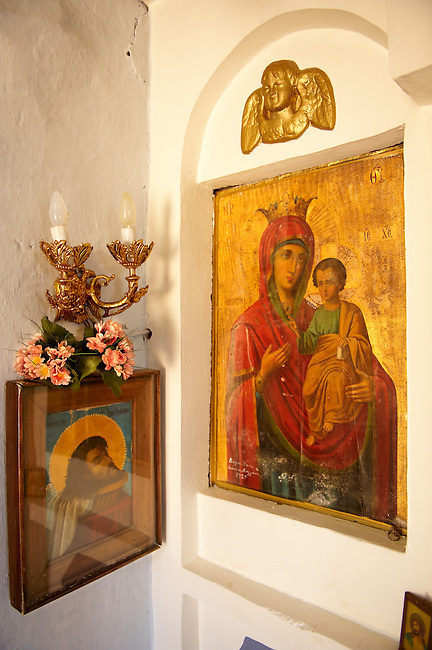 Rare Madonna, Virgin Mary, Icons 12th Century Greek Orthodox Byzantine Church of the Ayioi Apstoloi  Katomeria, Kea, Greek Cyclades Islands