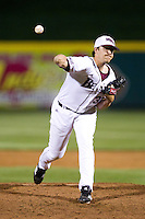 Zach Merciez (33) of the Missouri State Bears delivers a pitch during a game against the Kansas Jayhawks at Hammons Field on March 27, 2012 in Springfield, Missouri. (David Welker/Four Seam Images)