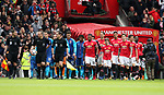 Arsenal and Manchester United teams walk out during the premier league match at the Old Trafford Stadium, Manchester. Picture date 29th April 2018. Picture credit should read: Simon Bellis/Sportimage