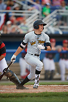 West Virginia Black Bears second baseman Tristan Gray (2) hits a single during a game against the Batavia Muckdogs on June 25, 2017 at Dwyer Stadium in Batavia, New York.  West Virginia defeated Batavia 6-4 in the completion of the game started on June 24th.  (Mike Janes/Four Seam Images)