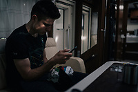 CX World Champion Wout Van Aert (BEL/Cr&eacute;lan-Charles) checking messages pre-race in his camper<br /> <br /> Super Prestige Ruddervoorde / Belgium 2017