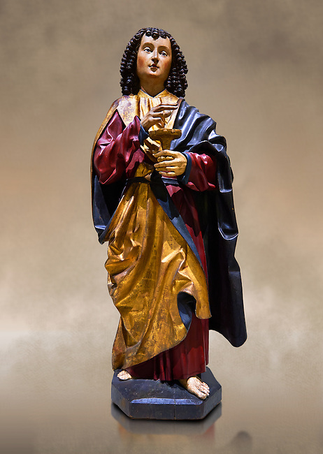 Gothic wooden statue of Sant Joan Evangelista (John the Evangelist) from Gremany, circa 1500, tempera and gold leaf on wood.  National Museum of Catalan Art, Barcelona, Spain, inv no: MNAC  64114.