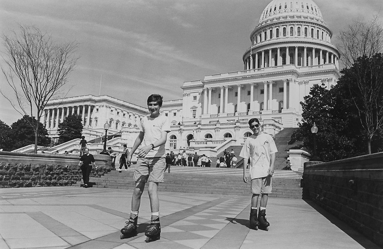 Managing Director of Potomac, Leith Habayeb, and Managing Director of Rockville, David Gale out rollerblading as hordes of tourists enjoying the beautiful spring day on Capitol Hill on April 8, 1993. (Photo by Laura Patterson/CQ Roll Call via Getty Images)