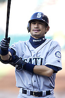 Ichiro Suzuki of the Seattle Mariners prepares to bat during a 2002 MLB season game against the Los Angeles Angels at Angel Stadium, in Los Angeles, California. (Larry Goren/Four Seam Images)