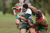 R. Asaera gets scragged by N. Jones. Counties Manukau Premier 1 McNamara Cup round 2 rugby game between Manurewa & Waiuku played at Mountfort Park, Manurewa on the 30th of June 2007. Manurewa led 19 - 3 at halftime and went on to win 31 - 3.