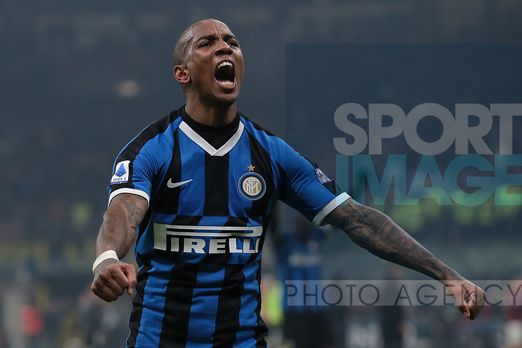 Ashley Young of Inter celebrates after the final whistle of the Serie A match at Giuseppe Meazza, Milan. Picture date: 9th February 2020. Picture credit should read: Jonathan Moscrop/Sportimage