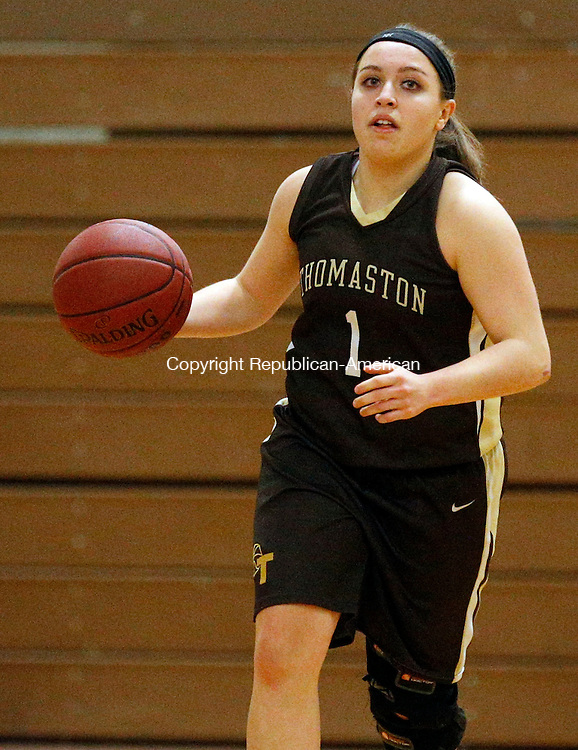 Woodbury, CT- 19 January 2016-011916CM07-  Thomaston's Julia Quinn brings the up the court during their Berkshire League matchup against Nonnewaug in Woodbury on Tuesday.  Thomaston would go onto win, 56-36.    Christopher Massa Republican-American