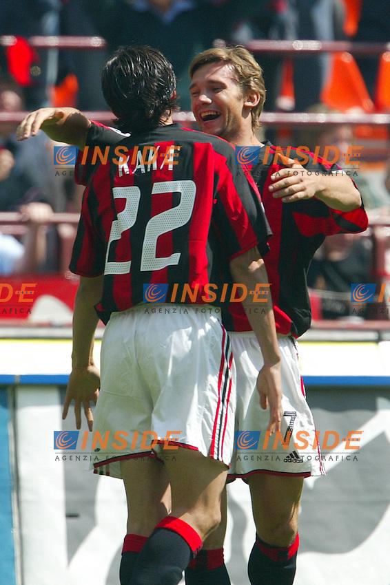 Milano 2/5/2004 Campionato Italiano Serie A - Matchday 32<br /> Milan Roma 1-0 <br /> Milan Campione d'Italia - Milan wins italian championship <br /> Andrij Shevchenko e Kaka, festeggiano il gol dell'1-0<br /> Andrij Shevchenko and Kaka celebrates  goal of 1-0