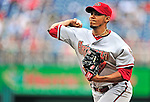 15 August 2010: Arizona Diamondbacks pitcher Esmerling Vasquez on the mound against the Washington Nationals at Nationals Park in Washington, DC. The Nationals defeated the Diamondbacks 5-3 to take the rubber match of their 3-game series. Mandatory Credit: Ed Wolfstein Photo