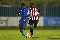 Lanre Vigo of Clapton and Reside Coxi-Sebatfao of Redbridge during Redbridge vs Clapton, Essex Senior League Football at Oakside Stadium on 14th November 2017