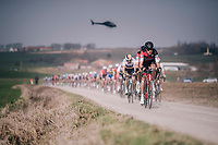Team BMC taking control over the peloton on the Plugstreets<br /> <br /> 81st Gent-Wevelgem in Flanders Fields (1.UWT)<br /> Deinze &gt; Wevelgem (251km)