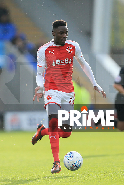 Devante Cole of Fleetwood Town during the Sky Bet League 1 match between Shrewsbury Town and Fleetwood Town at Greenhous Meadow, Shrewsbury, England on 21 October 2017. Photo by Leila Coker / PRiME Media Images.