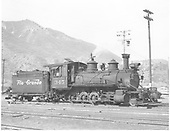3/4 engineer's-side view of C-19 #345 at Durango.<br /> D&amp;RGW  Durango, CO  Taken by Payne, Andy M. - 4/5/1950