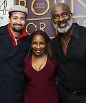 "Lin-Manuel Miranda, Stephanie Mills and BeBe Winans backstage after a Song preview performance of the Bebe Winans Broadway Bound Musical ""Born For This"" at Feinstein's 54 Below on November 5, 2018 in New York City."