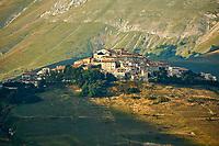 The hill town  of Castelluccio di Norcia, Parco Nazionale dei Monti Sibillini ,  Apennine Mountains,  Umbria, Italy.