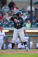 Joey Rose (24) of the Missoula Osprey at bat against the Billings Mustangs at Dehler Park on August 21, 2017 in Billings, Montana.  The Osprey defeated the Mustangs 10-4.  (Brian Westerholt/Four Seam Images)