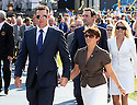 LEE WESTWOOD of the European Ryder Cup Team leaves the stage with his wife after the official opening prior to the 37th Ryder Cup Matches, September 16 -21, 2008 played at Valhalla Golf Club, Louisville, Kentucky, USA ( Picture by Phil Inglis ).... ......