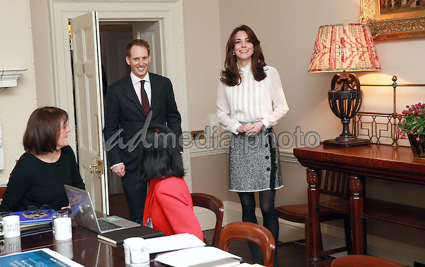 17 February 2016 - London, England - Princess Kate Duchess of Cambridge Catherine, Katherine Middleton arrives with Steven Hull (Editor in Chief Huff Post UK) in the 'News Room' at Kensington Palace in London. The Duchess of Cambridge is supporting the launch of the Huffington Post UK's initiative 'Young Minds Matter' by guest editing the Huffington Post UK today from Kensington Palace. Photo Credit: Alpha Press/AdMedia