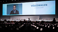 03 May 2018, Germany, Berlin: Herbert Diess, CEO of Volkswagen AG, soeaking at the Volkswagen AG annual general meeting at the Messegelaende in Berlin. Photo: Bernd von Jutrczenka/dpa /MediaPunch ***FOR USA ONLY***