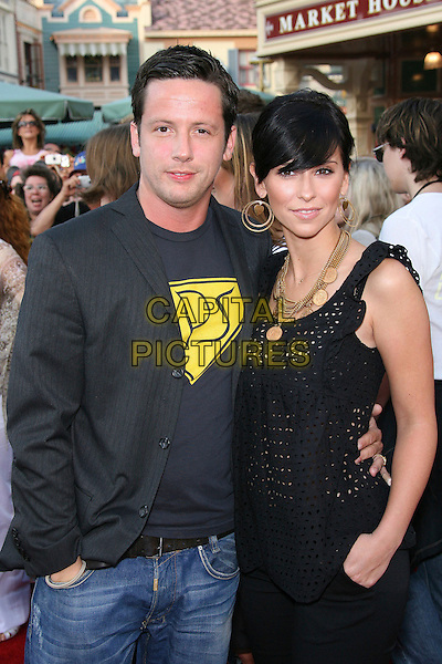 "ROSS McCALL & JENNIFER LOVE HEWITT.World Premiere of Walt Disney Pictures' ""Pirates of the Caribbean: Dead Man's Chest"" held at Disneyland, Anaheim, California, USA.  .June 24th, 2006.Photo: Zach Lipp/AdMedia/Capital Pictures.Ref: ZL/ADM.half length grey gray gold earrings necklace jewellery.www.capitalpictures.com.sales@capitalpictures.com.© Capital Pictures."