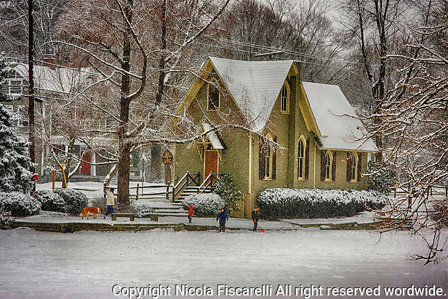 Winter scene of the Old Library at Lake Afton  In Yardley PA.