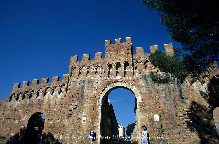 Entrance gate to the historic city of Siena, Italy.