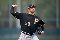 Pittsburgh Pirates starting pitcher Joe Musgrove (59) delivers a pitch during a Minor League Spring Training intrasquad game on March 31, 2018 at the Pirate City in Bradenton, Florida.  (Mike Janes/Four Seam Images)