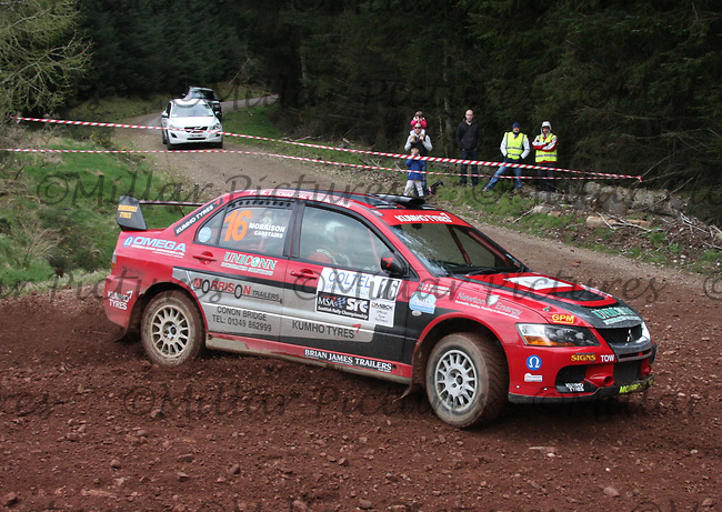 John Morrison / Peter Carstairs in a Mitsubishi Evolution 9 at Junction 8 on Whytes Cranes Special Stage 3 Drumtochty of the Coltel Granite City Rally 2012 which was based at the Thainstone Agricultural Centre, Inverurie.