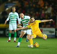 4th March 2020; Almondvale Stadium, Livingston, West Lothian, Scotland; Scottish Premiership Football, Livingston versus Celtic; Steven Lawless of Livingston holds off the challenge of Scott Brown of Celtic