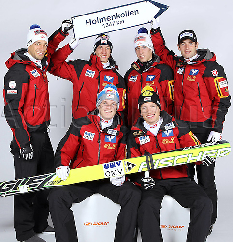16.10.2010  Winter sports OSV Einkleidung Innsbruck Austria. Ski Nordic Ski jumping OSV Austrian Ski Federation. Picture shows Andreas Kofler Gregor Schlierenzauer Lukas Mueller Wolfgang Loitzl rear Thomas Morgenstern and David Zauner AUT front Keywords Signs Holmenkollen World Cup Oslo 2011