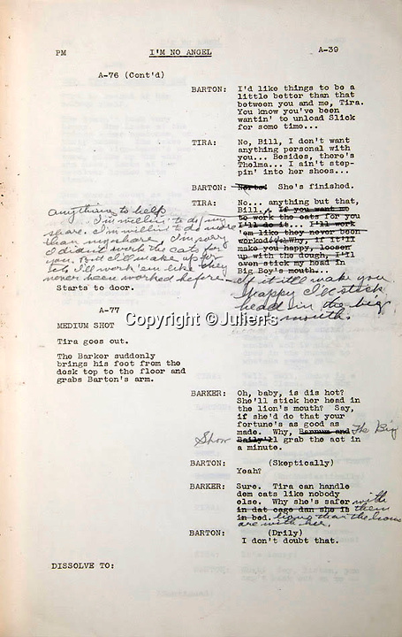 "BNPS.co.uk (01202 558833)<br /> Pic:  Julien's/BNPS<br /> <br /> A heavily edited script page from film 'I'm No Angel', est. £2,400 - Mae was famous for her one liners, that often got her in trouble with the censors.<br /> <br /> A selection of trailblazing 1930s starlet Mae West's most recognisable film costumes have emerged for sale for £320,000. ($400,000)<br /> <br /> The auction features the actress and screenwriter's gowns, headdresses and tiaras, as well as props from her films and her scripts.<br /> <br /> West, a New York native, was the Marilyn Monroe of her era, earning a 'bad girl' reputation for starring in risque productions.<br /> <br /> She famously coined the phrase: ""When I'm good, I'm very good, but when I'm bad, I'm better."""