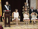 Coronation ceremony in Madrid. King Felipe VI of Spain and Queen Letizia of Spain at Congreso de los Diputados with their children Princess Leonor and enfant Sofía. June 19 ,2014. (ALTERPHOTOS/EFE/Pool)