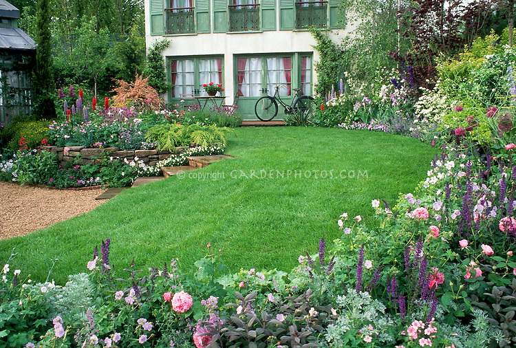 Lovely home landscaping gardens plant flower stock photography - Flower and lawn landscaping ideas ...