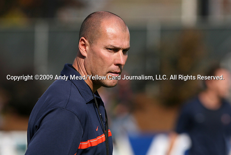 15 November 2009: Virginia head coach George Gelnovatch. The University of Virginia Cavaliers defeated the North Carolina State University Wolfpack at WakeMed Stadium in Cary, North Carolina in the Atlantic Coast Conference Men's Soccer Tournament Championship game.