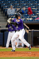 Akron Aeros outfielder Tyler Holt #2 during a game against the Trenton Thunder on April 22, 2013 at Canal Park in Akron, Ohio.  Trenton defeated Akron 13-8.  (Mike Janes/Four Seam Images)