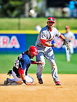 14 March 2010: St. Louis Cardinals' infielder Daniel Descalso gets Washington Nationals shortstop Mike Morse out at second but can't turn the double-play ball during a Spring Training game at Space Coast Stadium in Viera, Florida. The Cardinals defeated the Nationals 7-3 in Grapefruit League action. Mandatory Credit: Ed Wolfstein Photo