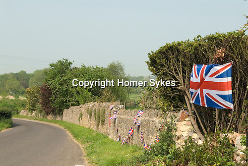 Union Jack Flag Somerset  UK Preparations of the Queens Diamond Jubilee.
