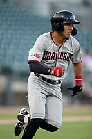 Shortstop Jonathan Ornelas (3) of the Hickory Crawdads runs out a batted ball in a game against the Columbia Fireflies on Wednesday, August 28, 2019, at Segra Park in Columbia, South Carolina. Hickory won, 7-0. (Tom Priddy/Four Seam Images)