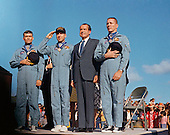 "Hickham AFB, HI - (FILE) -- United States President Richard M. Nixon, right center, and the Apollo 13 crew salute U.S. flag during the post-mission ceremonies at Hickam Air Force Base, Hawaii. Earlier, the astronauts John Swigert, right, Jim Lovell, left center, and Fred W. Haise, left, were presented the Presidential Medal of Freedom by the Chief Executive.  Apollo 13, launched on April 11, 1970, was NASA's third manned mission to the moon. Two days later on April 13 while the mission was en route to the moon, a fault in the electrical system of one of the Service Module's oxygen tanks produced an explosion that caused both oxygen tanks to fail and also led to a loss of electrical power. The command module remained functional on its own batteries and oxygen tank, but these were usable only during the last hours of the mission. The crew shut down the Command Module and used the Lunar Module as a ""lifeboat"" during the return trip to earth. Despite great hardship caused by limited power, loss of cabin heat, and a shortage of potable water, the crew returned to Earth, and the mission was termed a ""successful failure."" .Credit: NASA via CNP"