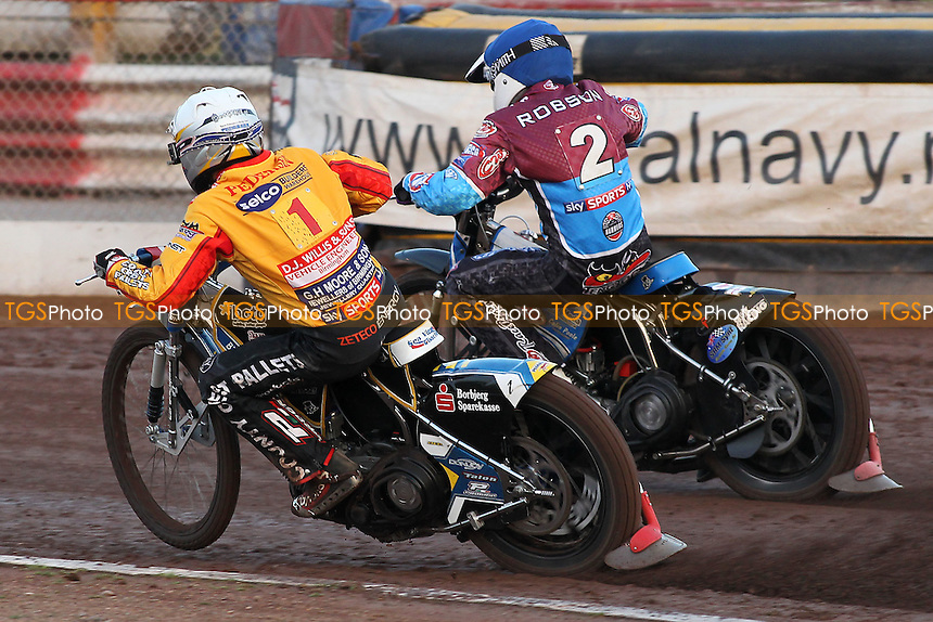 Heat 1: Stuart Robson (blue) alongside Bjarne Pedersen - Lakeside Hammers vs Birmingham Brummies - Sky Sports Elite League Speedway at Arena Essex Raceway, Purfleet - 10/08/12 - MANDATORY CREDIT: Gavin Ellis/TGSPHOTO - Self billing applies where appropriate - 0845 094 6026 - contact@tgsphoto.co.uk - NO UNPAID USE.