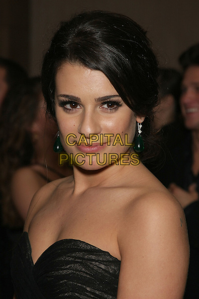 LEA MICHELE .Celebrity Sighting at the 67th Annual Golden Globes inside the Beverly Hilton hotel, Beverly Hills, CA, USA,.January 17th, 2010..globes portrait headshot strapless black .CAP/LNC/ALB.©LNC/Capital Pictures